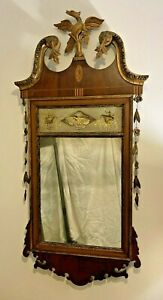 Chippendale Mahogany Parcel-Gilt Eglomise Mirror with Phoenix Finial , American