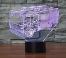3D Fire Truck Night Light Room Decor Gift 7 Color Change LED Desk Lamp Touch