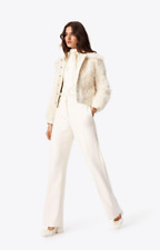 New $1298 TORY BURCH Camilla Shearling Lamb White Fur Leather Jacket Size L