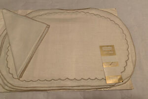Vintage Authentic Imperial Creation Ivory 100% Linen Placemats And Napkins Set 4