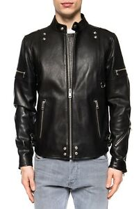 DIESEL Black Soft Smooth Leather L- TOVMAS Biker Moto Jacket LARGE New With Tags