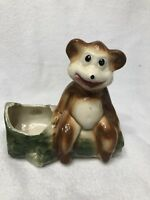 Vintage Ceramic HAPPY BEAR SITTING ON LOG Planter