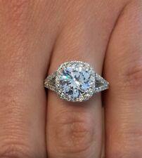 3.50 Carat F/VS1 Round Cut Cushion Halo Diamond Engagement Ring 14K White Gold