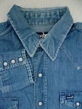 WRANGLER Denim Western Camicia Bianca i bottoni automatici extra lunghe code XL BLU lsht330