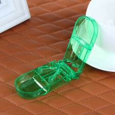 Green Pill Storage Compartment Box Medicine Tablet Holder Cutter Splitter Half