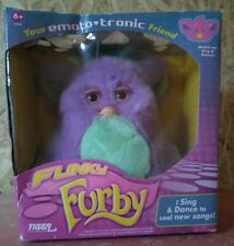 FUNKY SING & DANCE FURBY PURPLE GREEN TIGER HASBRO 2006 CARE GUIDE & SPOON NIB