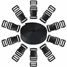 Coopay 1 Inch Plastic Buckles Kit Include 11 Yards Black Nylon Webbing Strap,