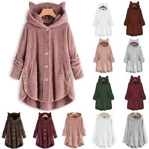 Womens Hoodies Coat Warm Teddy Bear Fluffy Casual Fur Fleece Loose Jumper Jacket