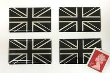 4 x Union Jack Flag Stickers Super Shiny Domed Finish Black & Chrome 50mm