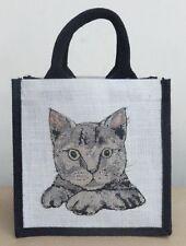 Sac déjeuner jute écologique / petit shopper-Tabby cat design