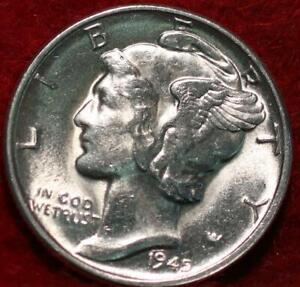 Uncirculated 1945-D Denver Mint Silver Mercury Dime