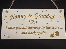 Nanny & grand-père love to the stars & dos en bois plaque grands-parents signe cadeau