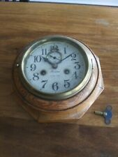 Antique Ansonia Oak Wood Octogon 8 Day Wall Clock With Lever Movement