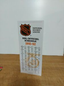 NHL Official Schedule 1992 Reprint