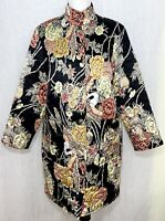 Carol Cohen Studio Women Large Quilted Silk Jacket/Coat Reversible Flower print