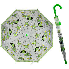 Green Frog Print Childs Girls Kids Stick Umbrella With Hook Handle & Whistle