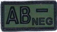PVC Abzeichen Blutgruppe AB NEGATIV - neg - Gummi Patch mit Klett - oliv schwarz