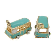 50963 Plated Gold Alloy Blue Enameled Bus Charms Pendants Findings Jewelry 4pcs