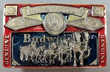 **NEW** 1982 Genuine BUDWEISER Beer Clydesdale Belt Buckle - Lacquer Overlay