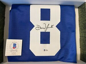 Autographed/Signed DANIEL JONES New York GIANTS Blue Football Jersey Beckett COA