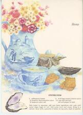 VINTAGE SEA SHELLS BLUE DELFT TEA CUP OYSTER STEW PRINT 1 VICTORIAN CHARM CARD