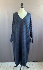 """WALL LONDON Stunning Fine Merino Wool Knit Oversized Shift Dress One Size 64"""" CH"""