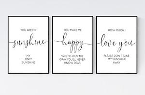 You Are My Sunshine My Only Sunshine Prints, Set of 3 Nursery Wall Art Prints
