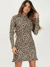 Leopard Plisse High Neck Mini Dress, Size 10