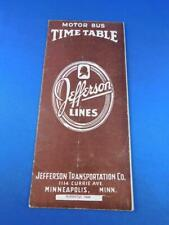 JEFFERSON LINES MOTOR BUS TIMETABLE SCHEDULE AUGUST 1949 ROUTE MAP ADVERTISING