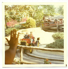 Vintage 70s PHOTO Hand Waving At Kids Riding Cars at Knott's Berry Farm