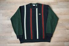 Lacoste Vintage Wool Blend Vertical Striped Green Blue Sweater Jumper Pullover 5