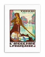 TONKIN VIETNAM INDOCHINA RIVER BOAT FRANCE Poster Travel Canvas art Prints