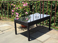 Patio Outdoor Wicker Garden Rectangular Coffee Table w/ Glass
