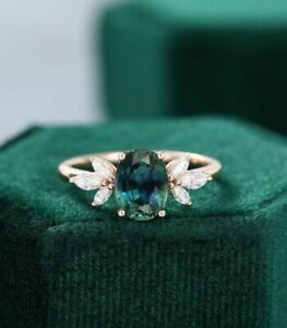 14K Rose Gold Over 1.44ct Oval cut Alexandrite Engagement Wedding Ring