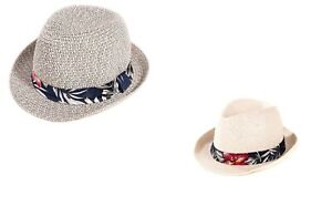 NEW STRAW STYLE TRILBY HAT SUN SUMMER FEDORA WITH HAWAIIAN PRINT BAND