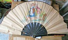 VENTAGLIO legno e stoffa stampata SCENA GALANTE originale primi '900 BELLO
