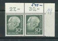 BRD Mi-Nr. 259x Ecke 2 waagerechtes Paar - Eckrand ** postfrisch