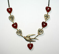 Artisan Cupids dove heart ruby crystal valentine Vintage red necklace
