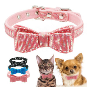 Adjustable Necklace Bow Tie Collar For Dog Cat Puppy Small Dog Blingbling Collar