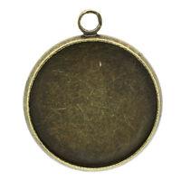 100 Bronzefarben Rund Medaillon Anhänger 23x20mm B24670