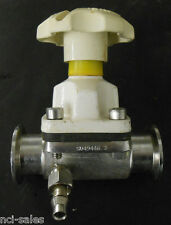 """SAUNDERS 1.5"""" 316L SS DIAPHRAGM VALVE W/ SANITARY FITTINGS AND SIDE ARM"""