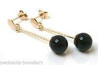 9ct Gold Onyx ball drop Earrings Made in UK Gift Boxed