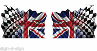 130mm x 80mm 2 UNIQUE UNION JACK/CHEQUERED FLAG STICKERS GRAPHICS