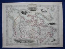 Antique atlas map BRITISH AMERICA, CANADA, RARE BOSTON VIGNETTE, Tallis, 1849