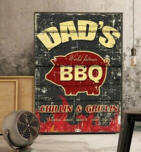 Vintage Antique Look BBQ Poster - Distressed Weathered Look Kitchen Decor, 24x36