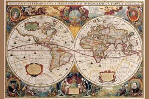 World Map 17th Century Antique Vintage Art Print Poster 24x36 inch