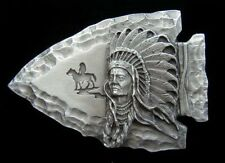 CHIEF AND ARROWHEAD PEWTER BELT BUCKLE NEW! BUCKLES