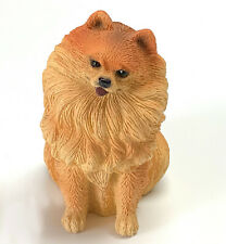 Pomeranian Red Dog Figurine Statue Hand Painted Resin Living Stone 3 Inch
