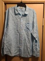 Tommy Bahama Button Down Shirt Men's Size Large Linen MIAMI TEAL PRELOVED