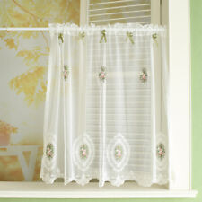 Voile Short Curtain Bow Kitchen Blind Cafe Net Curtains Small Window Drapes 1pc